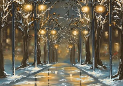 Зима в града – рисуване онлайн